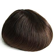 Ekte menneskehår tynn hud menns toupee farge 2 # hairpiece for menn 6 tommer lang menneskehår toupee for menn