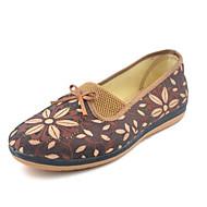 Damen Loafers & Slip-Ons Komfort Stoff Herbst Frühling Normal Komfort Schleife Blume Flacher Absatz Rot Kamel Unter 2,5 cm