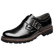 Men's Loafers & Slip-Ons Comfort Cowhide Handmade Brogue Wedding Office Leather West Steel Buckle Shoes Brown Black