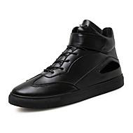 メンズ ブーツ コンフォートシューズ レザーレット オールシーズン カジュアル ウォーキング コンフォートシューズ 編み上げ フラットヒール ゴールド ホワイト ブラック フラット
