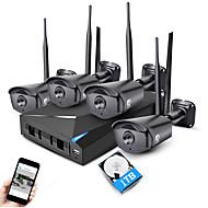 jooan®4ch 960pワイヤレスnvrセキュリティシステムキット4 * 1.3mp屋外IR夜間視界wifi ipカメラcctv、1tb hdd