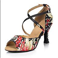 Kadın Dans Sneakerları PU Sandaletler Spor Ayakkabı Dış Mekan Kalın Topuk Siyah 5 - 6,2 cm