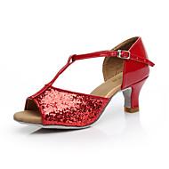 Dámské Latina Lesk Sandály Uvnitř Kubánský Zlatá Černá Stříbrná Fuchsiová Červená Ano
