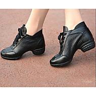 Kadın Dans Sneakerları Tül Deri Topuklular Egzersiz Siyah