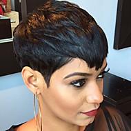 Naisten Ihmisen hiukset Capless Peruukit Musta Lyhyt Suora Otsatukalla