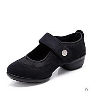 Kadın Dans Sneakerları Tül Suni Süet Spor Ayakkabı Dış Mekan Ayrık Renkler Düz Taban Siyah Kırmzı Yeşil 2,5 - 3,6 cm Kişiselleştirilmiş