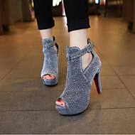 Women's Heels Comfort Spring PU Casual Black Gray Flat