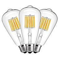 10W LED-hehkulamput ST64 10 COB 1000 lm Lämmin valkoinen Koristeltu AC 220-240 V 3 kpl