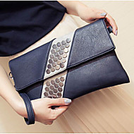Women Clutch PU Polyester All Seasons Casual Outdoor Round Clasp Lock Blue Black Red