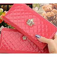 Mulher Porta Dinheiro Couro Ecológico Todas as Estações Casual zíper Rosa Azul Profundo Rosa claro