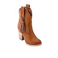 Для женщин Ботинки Удобная обувь Осень Зима Полиуретан Повседневные На толстом каблуке Кофейный Коричневый 4,5 - 7 см
