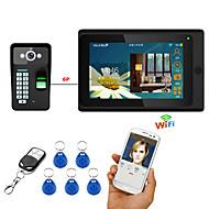 7 inch draadloos / draadloos wifi vingerafdruk rfid wachtwoord video deurtelefoon deurbel intercom systeem upport remote app ontgrendelen