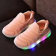 Para Meninas Tênis Tênis com LED Couro Tule Primavera Verão Outono Casual Caminhada Tênis com LED LED Salto BaixoBranco Amarelo Rosa
