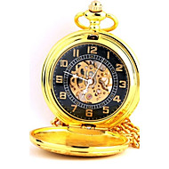 Men's Pocket Watch Automatic self-winding Hollow Engraving Alloy Band Gold