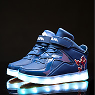 Girls' Sneakers Light Up Shoes Fall Winter PVC Leather Casual Magic Tape Flat Heel Black Royal Blue Flat