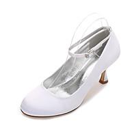 Feminino Sapatos De Casamento Conforto MaryJane Cetim Primavera Verão Casamento Social Festas & Noite Cadarço de BorrachaSalto Baixo