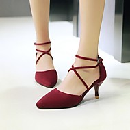 Women's Heels Basic Pump Spring Summer Nubuck leather Casual Kitten Heel Black Gray Ruby 1in-1 3/4in