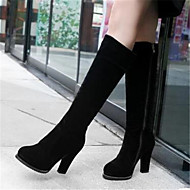 Women's Shoes Nubuck leather PU Fall Winter Comfort Boots With For Casual Black