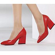 Ženske Cipele na petu Udobne cipele Obične salonke Prava koža PU Proljeće Ljeto Kauzalni Crn Crvena 5 cm - 7 cm