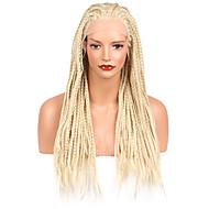 Vrouw Bleach Blonde Haar Afrikaanse Braids Gevlochten Pruik Synthetisch haar Kanten Voorkant Natuurlijke pruik