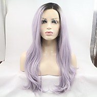 Uzun Siyah/Mor Saç Doğal saç çizgisi Sentetik Saç Ön Dantel Doğal Peruk