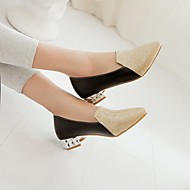 Feminino Sapatos Couro Ecológico Primavera Outono Conforto Saltos Salto Baixo Dedo Apontado Com Para Casual Dourado Preto Prata