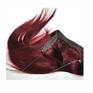 16-22inch salaisen langan ihmisen hiustenpidennykset hiusten pidennys 80g tumma viini 99j #