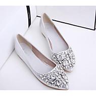 Dame Flate sko Komfort Egte Lær PU Vår Sommer Avslappet Gull Sølv Rosa Flat