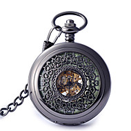 Men's Women's Pocket Watch Automatic self-winding Hollow Engraving Alloy Band Vintage Black