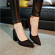 Women's Heels Comfort Basic Pump Spring Winter Real Leather PU Casual Black Ruby Blushing Pink 3in-3 3/4in