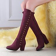 Γυναικείο Παπούτσια PU Φθινόπωρο Χειμώνας Ανατομικό Μπότες Ενιαίο Τακούνι Στρογγυλή Μύτη Με Για Causal Μαύρο Μπλε Μπορντώ