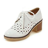 """נשים נעלי אוקספורד חדשני נעלי צלילה נוחות דמוי עור סתיו חתונה קזו'אל שרוכים עקב עבה לבן שחור אפור ס""""מ 5 - ס""""מ 7"""