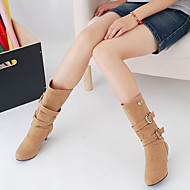 Women's Shoes PU Fall Winter Comfort Boots Chunky Heel Round Toe With For Casual Black Gray Yellow