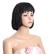 짧은 밥 가발 합성 열 내성 검정 갈색 상자 가발 가발 흑인 여성을위한 10inch