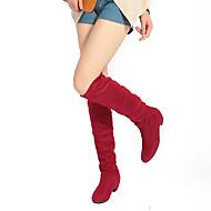 Γυναικείο Παπούτσια Χνούδι Λουστρίν Φθινόπωρο Χειμώνας Μοντέρνες μπότες Μπότες Χοντρό Τακούνι Στρογγυλή Μύτη Μπότες ως το Γόνατο Με Για