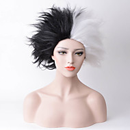 Women Synthetic Wig Capless Medium Straight Black/White Natural Hairline Party Wig Halloween Wig Carnival Wig Cosplay Wig Costume Wig
