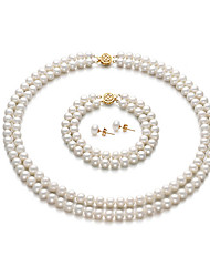 14k 6.5 - 7mm AA White Freshwater Pearl Three-Piece Jewelry Set