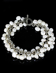 Chic Ladies' Pearl Strand Bracelet In Silver Alloy