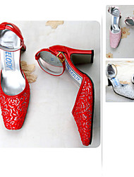 Satin upper Medium Heel Pumps Closed-toes  with Satin flower Wedding Shoes/Bridal Shoes (A0038)