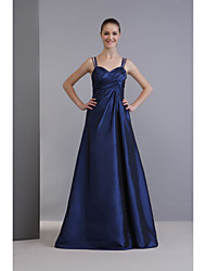 Lanting Bride® Floor-length Taffeta Bridesmaid Dress - A-line Spaghetti StrapsApple / Hourglass / Inverted Triangle / Pear / Rectangle /