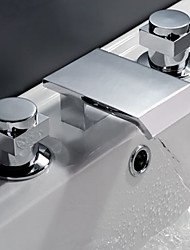 Two Handles Widespread Waterfall Bathroom Sink Faucet or Bathtub Faucet - Free Shipping (0698 -M-6009)