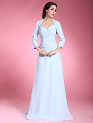 LAN TING BRIDE A-line Plus Size Petite Mother of the Bride Dress - Wrap Included Floor-length 3/4 Length Sleeve Chiffon withCriss Cross