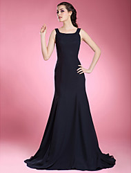 Trumpet/Mermaid Plus Sizes / Petite Mother of the Bride Dress - Dark Navy Sweep/Brush Train Sleeveless Chiffon
