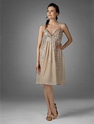 TS Couture Cocktail Party Dress - 1920s Celebrity Style Sheath / Column V-neck Spaghetti Straps Knee-length Chiffon with Draping Sequins