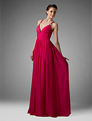 Lanting Bride® Floor-length Chiffon Bridesmaid Dress - Sheath / Column V-neck / Spaghetti Straps Plus Size / Petite withDraping / Pleats