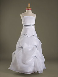 Floor-length Satin / Organza Junior Bridesmaid Dress - White A-line / Princess Spaghetti Straps