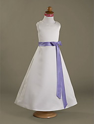 A-Line Princess Floor Length Flower Girl Dress - Satin Sleeveless Scoop Neck with Ribbon by LAN TING BRIDE®