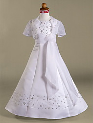 Lanting Bride ® A-line / Princess Floor-length Flower Girl Dress - Organza / Satin Short Sleeve Spaghetti Straps