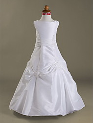 A-line Princess Floor-length Flower Girl Dress - Taffeta Jewel with Appliques Buttons Pick Up Skirt
