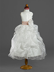 Ball Gown Tea-length Flower Girl Dress - Organza Satin Scoop with Flower(s) Pick Up Skirt Ruffles Sash / Ribbon